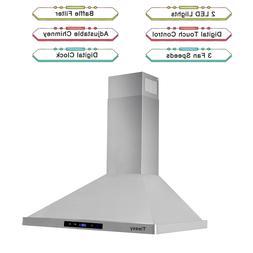 30 ducted kitchen wall mount range hood