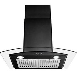 AKDY 30 in Convertible Wall Mount Range Hood Black Stainless