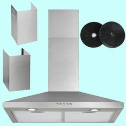 30 Inch Wall Mount Range Hood Carbon Filter Extra Duct 3 Spe