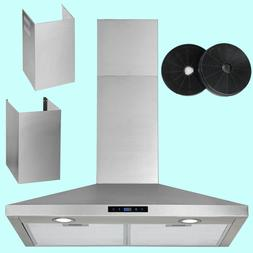 30 Inch Wall Mount Range Hood Touch Control Carbon Filter Ex