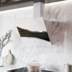 """30"""" Vallona Stainless Steel  Range Hood White / Black Glass"""