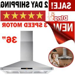 """36"""" Ducted Kitchen Wall Mount Range Hood 760 CFM Stainless S"""