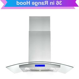 36 in Island Mount Range Hood 900CFM 4 LED Lamps with Glass