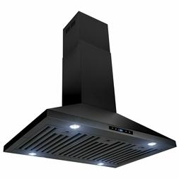 """36"""" Island Mount Black Painted Finish Stainless Steel Touch"""