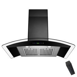 36'' Wall Mount Kitchen Range Hood LED Top Vent Stainless St