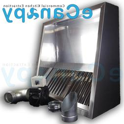 Commercial Kitchen Extraction Canopy Hood Full Kit 1200mm -