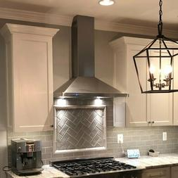 Convertible Kitchen wall Range Hood with Lights, Stainless S