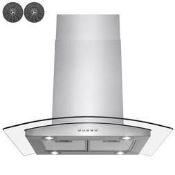 """Kitchen 30"""" Glass Island Canapy Stainless Steel Ductless Ran"""