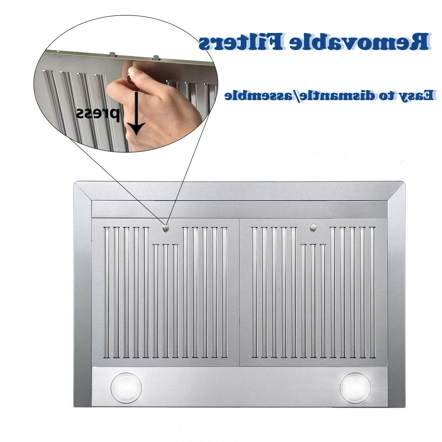 """30"""" Ducted Kitchen Mount Range Hood Stainless Filters LED Vent"""
