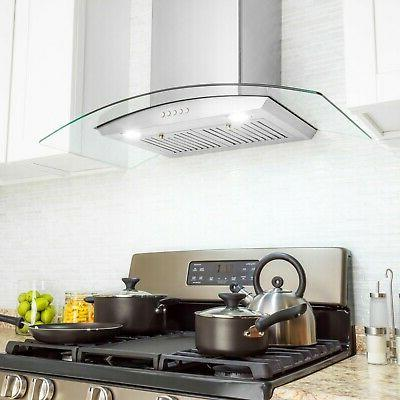 """30"""" Stainless Steel and Glass Speed Panel Control Range Hood"""