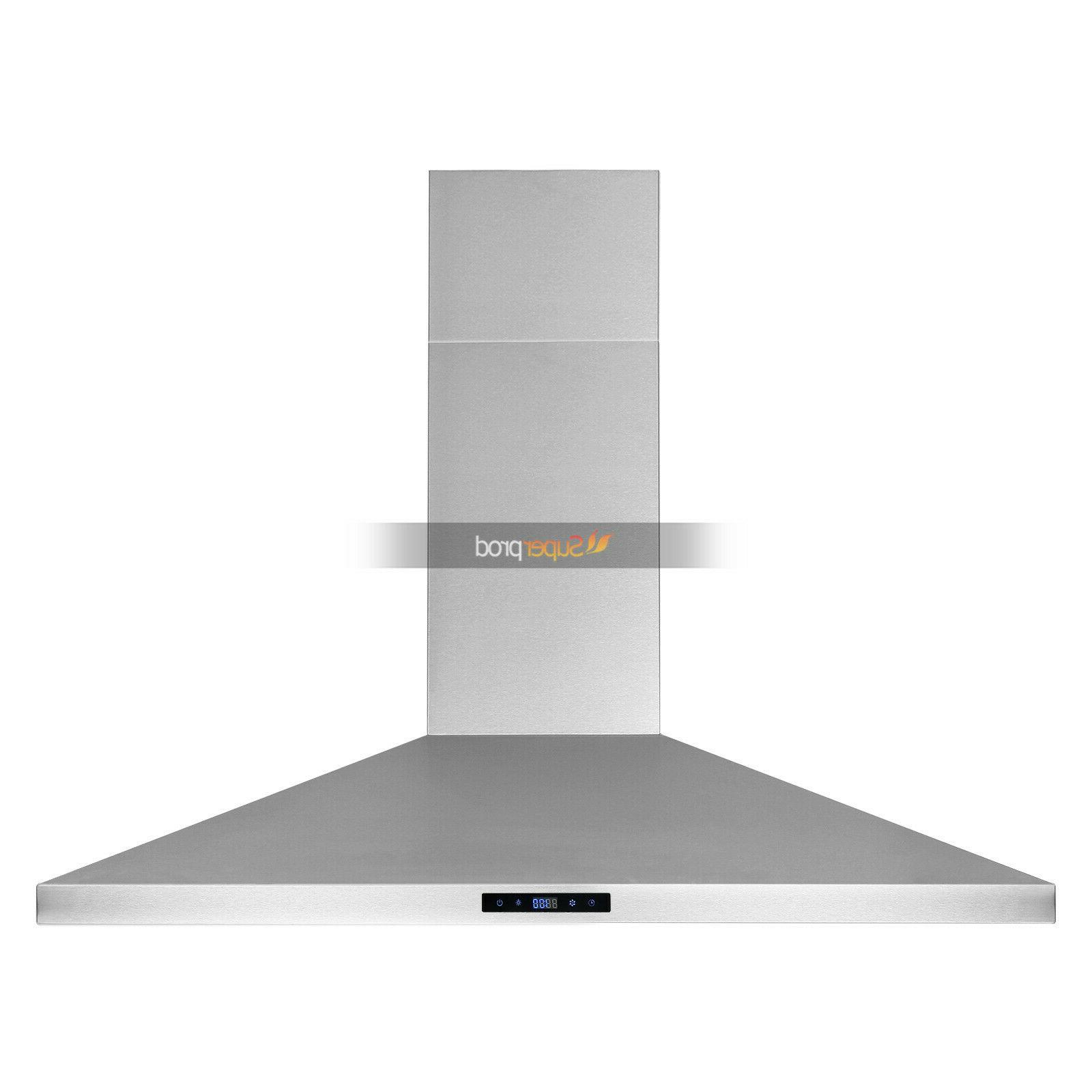 30 Wall Kitchen Range Hood Touch Control Timer Steel