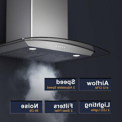 30'' Wall Mount Kitchen Range Hood Steel Tempered LED Lights
