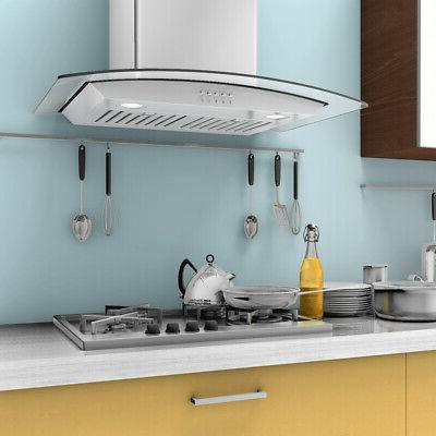 30'' Wall Mount Kitchen Range Hood Stainless Tempered Glass w/ Lights