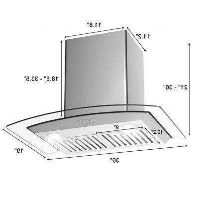 30'' Range Hood Stainless Tempered Glass w/ LED