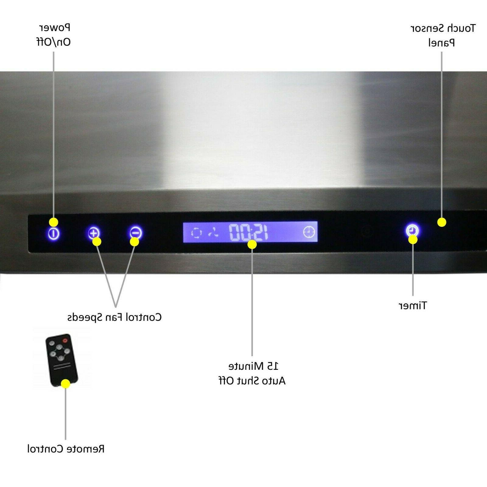 """Awoco 43""""H Stainless Hood 4 6"""" Vent, 900CFM"""