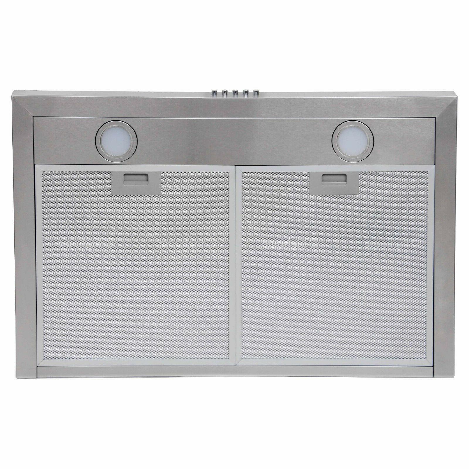 30 Range Hood Wall Steel Kitchen Stove Vent LED