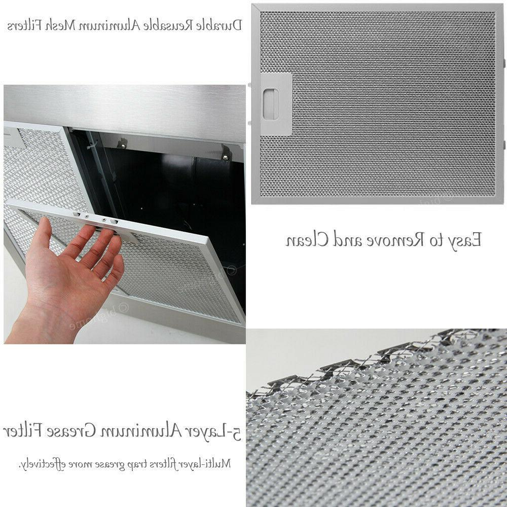 30 Inch Wall Stainless Kitchen Vent LED Light
