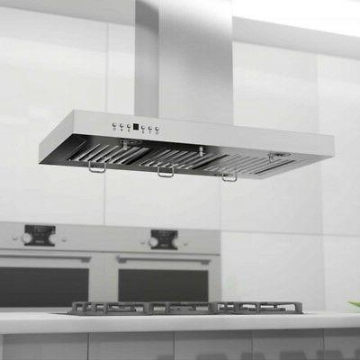42 760 White Stainless Hood Wall Island Kitchen Vent