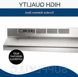 """STAINLESS OVER THE STOVE RANGE HOOD 30"""" EXHAUST FAN Non-Duct"""